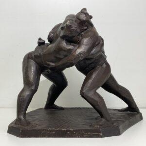 山口伊之助 ブロンズ彫刻 相撲 取組